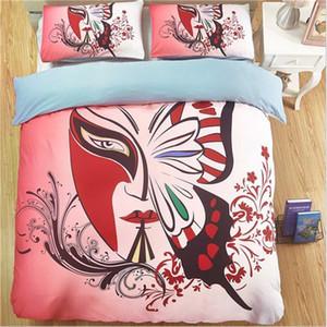 Chinese opera mask printing pattern Bedding Sets King size duvet cover pillowcase set whit 3pcs home textiles