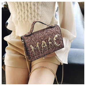 Designer-Mulheres Bling Sequins PU ombro bolsa Carta Mensageiro Moda Bolsa Crossbody Bag Lady Mini brilhante Evening Partido Bolsas Clutch Bag