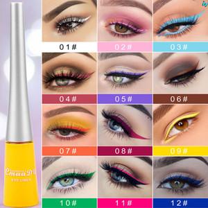 CMAADU 12 COLORES DIAMANTE COLORIDO Glitter Liquid Eyeliner Shimmer Liquid Eyeshadow Tint Metallic Eyeliner High Shine Shine Botella de ojos