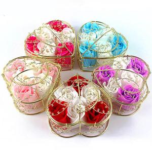Duftstoffe Rose Blume 6 Teile / Box Herzförmige Eisenkorb Bad Seife Blume Valentine Hochzeit Jubiläum Tag Rose Geschenk