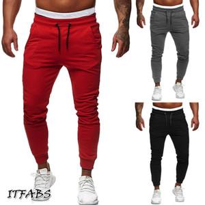 New Calça de Jogging Homens respirável Esporte Sweatpants Zip bolso da calça de formação treino de ginástica Atlético Calças Funcionamento Futebol