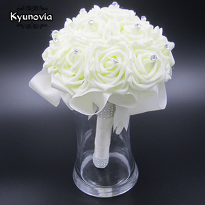 Kyunovia Schöne Wedding Bouquet Brautbrautjunfer Blumen Hochzeit künstliche Blume Rose Blumenstrauß weißen Brautsträuße FW89
