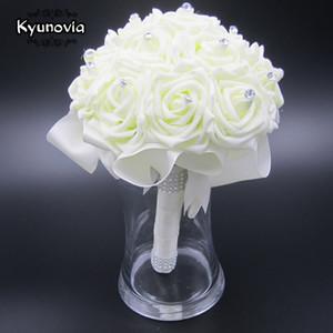 Kyunovia boda hermoso ramo de novia dama de flor de flores artificiales Ramo subió boda ramos de novia blanco FW89