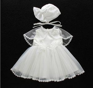 Vestido de velo de encaje de verano sin mangas para bautismo de bebé recién nacido de 0-2 años Vestido 3pcs / set Niños Niña fiesta Princesa infantil Vestidos de novia envolver ropa de bebé
