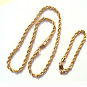 """""""Xupinp Zincir 6mm 14 k Sarı Katı Altın dolu Kalın Twisted Örgülü Erkek Hip Hop 24"""" İnç kolye ve bilezik Seç"""