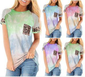 Frauen Leopard Panelled T-Shirt loses Kurzarmshirt mit runden Ansatz beiläufigen Taschen-T-Shirt Damen-Sommer-beiläufiger Top