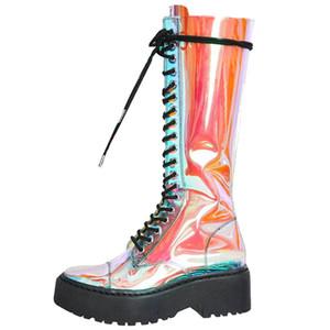 Rodilla SARAIRIS 2019 Marca personalizada INS caliente Cosplay del tamaño extra grande 42 Zapatos mujer de la manera mujeres de las botas ligada cruz de alta Botas Mujer