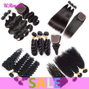 Raw Virgin Indian Bundles cheveux avec fermeture vague de corps bouclés humain empaquette cheveux avec fermeture droite en vrac profonde Bundles vague avec fermeture