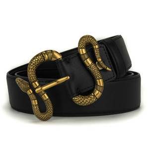 Mens mulher cobra Belt Cintos com Casual Carta SmoothNeedle Buckle Belt Largura 3,8 centímetros Altamente qualidade do couro