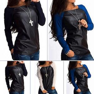 Сексуальные женская кожа с длинным рукавом T-Shirt Повседневной Tops хлопок и PU кожи лоскутной женская футболки для женщин