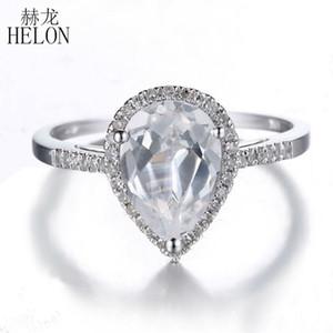 Hélon Slolid 10k oro blanco pera cortada 10x7mm 100% genuino diamantes 0.2ct natural blanca del Topaz del anillo de compromiso para las mujeres joyería