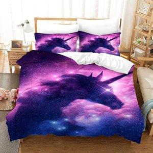 Starry Sky Unicorn 3D Literie Cartoon Housses de couette Ensembles Consolateur Twin Queen King Bedding Linge de lit Linge de lit (pas de feuille)