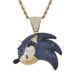 New Blue Zircon Flying Fish Elf Pendentif Micro Zircon personnalité Hip Hop Hip Hop Collier hommes