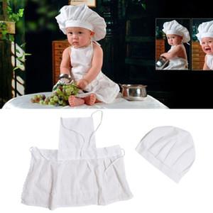 Unisex Baby Chef Traje conjunto blanco Inicio fotografía apoya cómodo y transpirable partido regalo Estudio Fotográfico Delantal de cocina sombrero traje