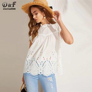 Dotfashion White Solid Circle Cut Use Armadura festoneada Mujeres Tops y blusas Verano 2019 Y19071201