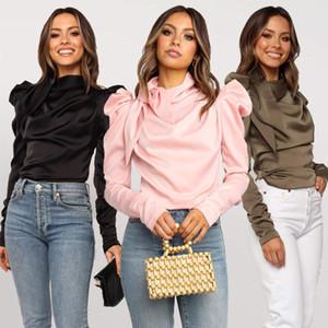 Les femmes satin Blouses 2019 Fashion Bow manches longues col à manches bouffantes élégant noir Chemisier Chemise de bureau classique Lady Blusas Femme Chemise