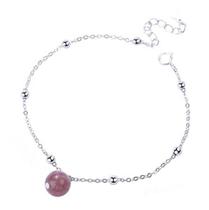 925 Pure Silver Jewelry Südkorea Einfache Pink Crystal Natural Strawberry Crystal Bracelet das beste Geschenk für Mädchen und Frauen
