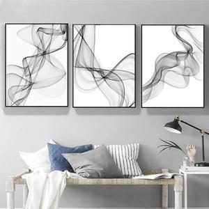 Salon Ev Dekorasyonu için Siyah ve Beyaz Soyut Dalgalı Çizgiler Desen Kanvas Tablolar Geometrik Poster Baskı Duvar Sanatı Resimleri