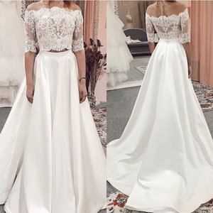 Two Pieces Satin Lace Wedding Dresses Half Sleeves Off Shoulder Country Boho Beach Bride Gowns Sweep Train Wedding Dress Vestidos