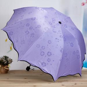 Floración agua plegable lápiz paraguas paraguas de la Mujer Dama Sol engranaje de la lluvia Sombrilla ultra-delgado de luz sólida de lluvia paraguas VT0242