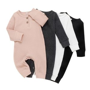 Yenidoğan Bebek Tulum Bebek Erkek Katı Çizgili Romper Çocuk Tasarımcı Giysi Kız Uzun Kollu Düğme Tulumlar Pamuk Onesies 3-18m