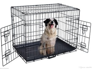 48'' 2 Doors Wire Folding Pet Crate Dog Cat Cage Suitcase Kennel Playpen w  Tray