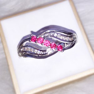 Time Set Pourtant rouge corindon Zirconium Stone Ring Diamond Ring Femme