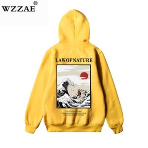 Gato engraçado WZZAE japonês bordado ondulada impressa do velo Hoodies 2018 Inverno Japão Estilo Hip Hop Casual Moletons Streetwear T200102