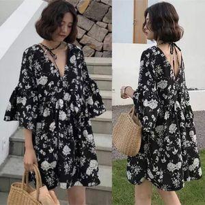 2020 kaguster barato vestido floral da mola vestidos de mangas curtas estilos femininos mostrar folha de lótus fina mangas elegante acima do joelho Mini