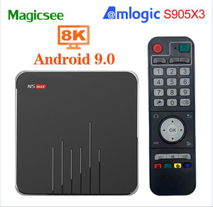 Н5 Magicsee максимум Android-ТВ коробка Смарт-tv коробка Amlogic 9.0 S905X3 4G с 32 ГБ 2.4 г/5.8 г беспроводной БТ телеприставки