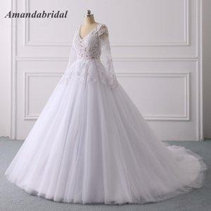 Амандабридальные кружевные аппликации Tulle 2019 Ball Adjects свадебные платья замочная скважина задняя кнопка слоистые юбки обратно с длинным рукавом V-образным вырезом.