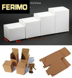 50pcs lot-9*9*(6-13)H Blank White Paper Kraft Paper Carft Gift Box Cosmetic Handmade Soap Storage boxes valve tubes packaging