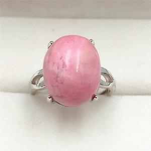 2020 Neu Natürliche Rose Rhodonite Frauen-justierbare Größe Ring 15x12mm Art und Weise bestes Korn Love 925 Sterling Silber Schmuck