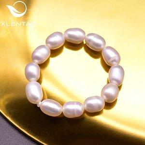 XlentAg naturais de água doce pérolas brancas anéis de casamento para as mulheres Angle Menina do Anime Aniversário Presentes Hip Hop Jewelry GR0264