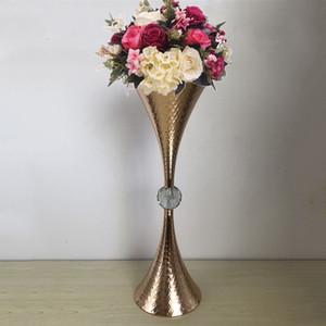 Vase en or Forme de trompette Cristal Table de mariage Pièce maîtresse Événement Route Conduire Délicat Vases à fleurs Pour La Décoration de la maison