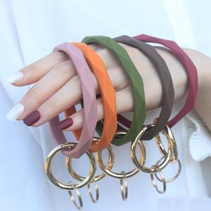 Monogrammed Silicone Wristlet Keychain Bracelet Bangle Chaveiro Grande Círculo Chaveiro Faced Pulseira Silicone Titular Para Mulheres Meninas