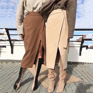 Womens falda de lana de invierno otoño irregular de hendidura Brown femenino gruesas ropa caliente del otoño 2019 con cordones Wrap trabajo de oficina larga Faldas
