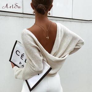 2019 осень крест-накрест вязаные свитера повседневные твердые Свободные Пуловеры женщины V-образным вырезом Batwing рукав пуловеры топ ASSW60339