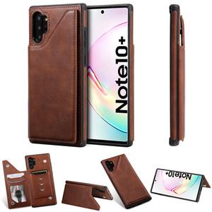 Чистый цвет PU кожаный бумажник чехол для Samsung Galaxy Note 10 / Note 10 плюс ударопрочный слот для карт Kickstand телефон задняя крышка