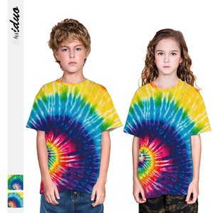 Tie-dyed short-sleeved T-shirt T-shirt children's stylish loose breathable boys' and girls' round collar top