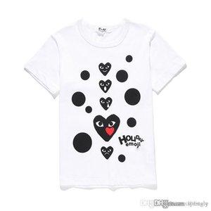 제한된 COM 제일 질 백색 CDG 새로운 남자 Womens des 놀이 1 CDG des 놀이 1 CDG 심혼 짧은 소매 T 셔츠