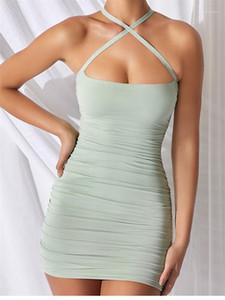 Işık Rengi BODYCON Elbiseler Casual Kolsuz Slash Boyun Modelleri Kadın Giyim Seksi Criss-Cross Omuz Kayışı Elbiseler Tasarımcı