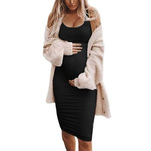LONSANT robes de maternité Couleur unie manches O-Neck Casual femmes robe coton dames confortable été veste vêtements enceinte Nouveau