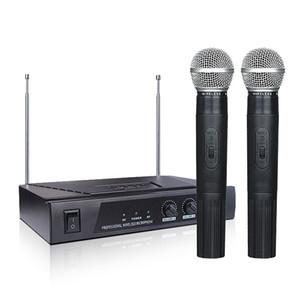 Profesyonel VHF Kablosuz Mikrofon MV-289 Sistemi ile 2 El Mikrofonları Singing Makinesi için Çift Kanal Karaoke Taşınabilir Ev KTV Set PA CD