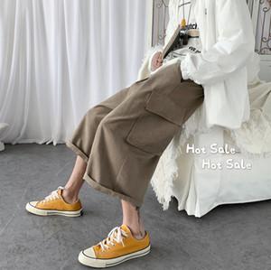 Verano 2020 nueva juventud popular de color sólido mediados de cintura baja pantalones casuales pantalones sueltos surgido gris de la manera salvaje / negro
