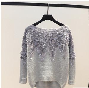 Nueva llegada palabra collar de encaje flor mohair suéter femenino dulce niña estilo primavera otoño invierno suelta suéter superior