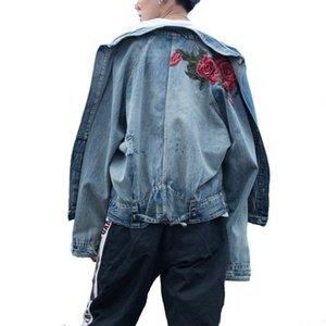 Moda Masculina Vintage Mcikkny Ripped Denim Jackets flor rosa jeans bordados Jaquetas para o casal Lavado
