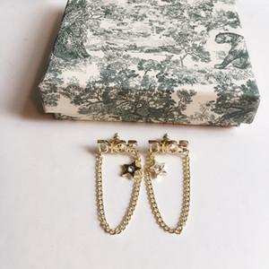 D Home Brief Fünf-Sterne-Kette Ohrring 925 silberne Nadel weibliches Ohrring Zubehör Hohe Version Anti-Allergie