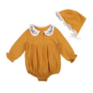 Niño recién nacido de niñas muñeca collar bordado mono del mameluco + hat 2pcs equipos fijó la ropa informal de vestuario para la edad 0-3YEARS