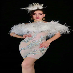 H25 Performance dance stage costumes mesh rhinestones evening dress catwalk white feather tassel skirt perspective outfits disco party wear